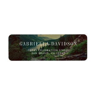 Romantic Pines, Mountains & Lake | Modern Wedding Return Address Label