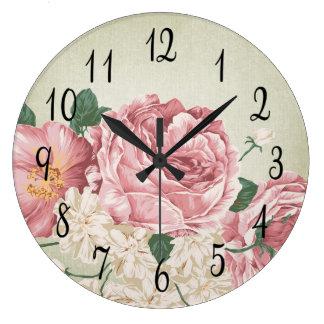 Romantic Pink and White Roses Wallclock