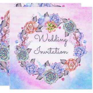 Romantic Pink Blue Watercolor Succulents Wedding Card