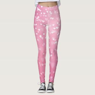 Romantic Pink Bokeh Hearts Leggings