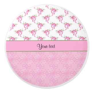 Romantic Pink Bows & Pretty Pink Damask Ceramic Knob