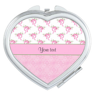 Romantic Pink Bows & Pretty Pink Damask Compact Mirrors