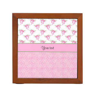 Romantic Pink Bows & Pretty Pink Damask Desk Organiser
