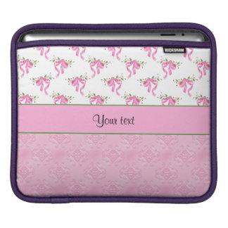 Romantic Pink Bows & Pretty Pink Damask iPad Sleeve