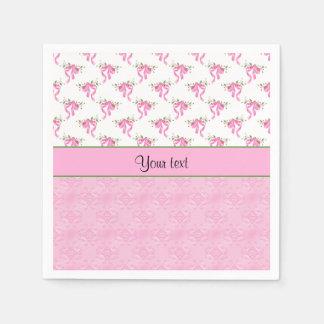 Romantic Pink Bows & Pretty Pink Damask Paper Napkins