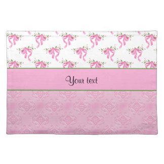 Romantic Pink Bows & Pretty Pink Damask Placemat
