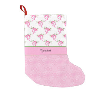 Romantic Pink Bows & Pretty Pink Damask Small Christmas Stocking