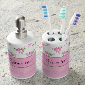 Romantic Pink Bows & Pretty Pink Damask Soap Dispenser And Toothbrush Holder