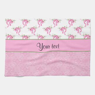 Romantic Pink Bows & Pretty Pink Damask Tea Towel