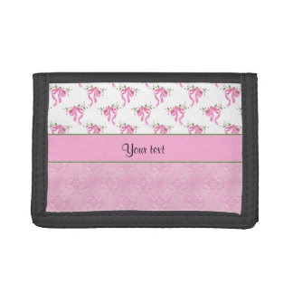 Romantic Pink Bows & Pretty Pink Damask Tri-fold Wallet