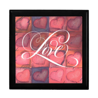 Romantic Pink Calligraphy Love Heart Lettering Large Square Gift Box