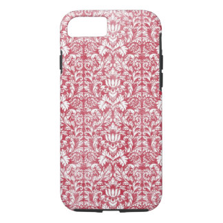 Romantic Pink Distressed Damask iPhone 7 Case