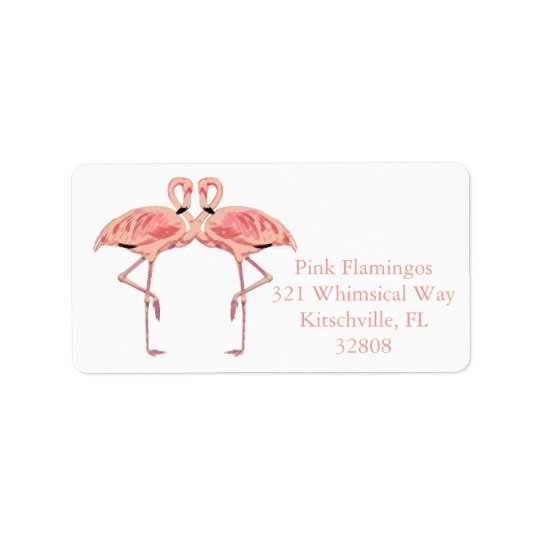 Romantic Pink Flamingo Couple Custom Labels