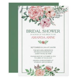 Romantic Pink Floral Bridal Shower Invitation