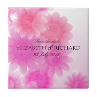 Romantic pink floral Save the date Tile
