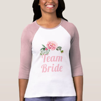 Romantic Pink Floral Team Bride Bachelorette Party T-Shirt