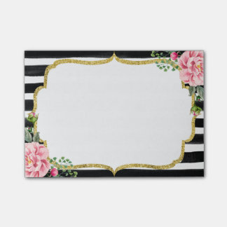 Romantic Pink Floral Watercolor Stripes Gold Frame Post-it Notes