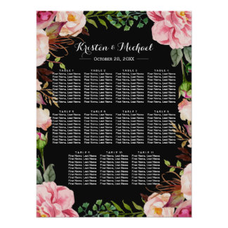 Romantic Pink Floral Wreath Wedding Seating Chart Poster