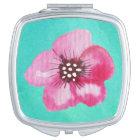 Romantic Pink Flower Aqua Blue Watercolor Mirror For Makeup