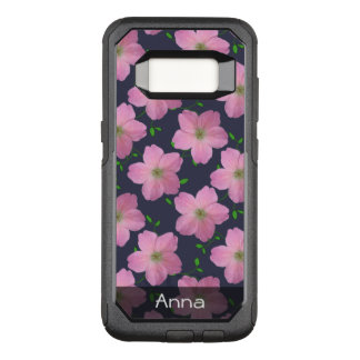 Romantic Pink Garden Flowers Pattern any Text OtterBox Commuter Samsung Galaxy S8 Case