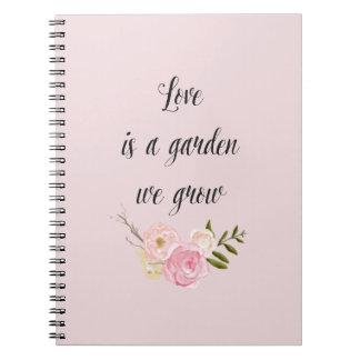 Romantic Pink Garden Watercolor Floral love Notebook