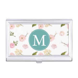 Romantic Pink Garden Watercolor Floral Monogram Business Card Cases