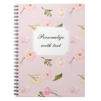 Romantic Pink Garden Watercolor Floral Notebook