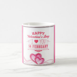 Romantic Pink Happy Valentines Day Coffee Mug