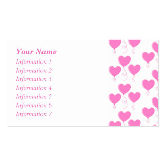 Romantic Pink Heart Balloons Pattern. Pack Of Standard Business Cards