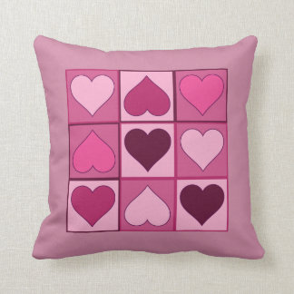 Romantic Pink Hearts Up and Down with any Colour Cushion