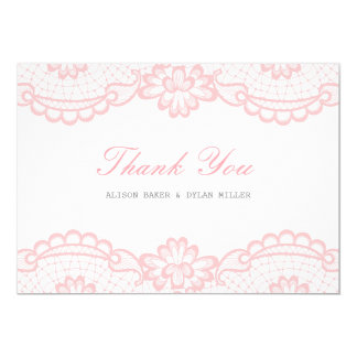 Romantic Pink Lace Thank You Card