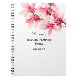 Romantic Pink Magnolia Floral Wedding Planner Notebook