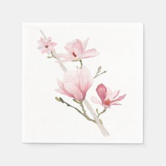 Romantic Pink Magnolias Greenery Napkins Disposable Napkins