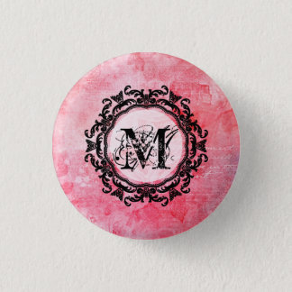 Romantic Pink Old Rose Chic Pattern 3 Cm Round Badge