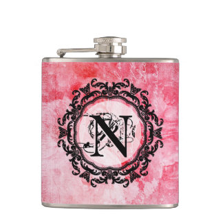 Romantic Pink Old Rose Chic Pattern Hip Flask