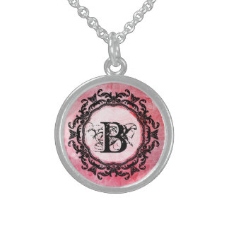 Romantic Pink Old Rose Chic Pattern Sterling Silver Necklace