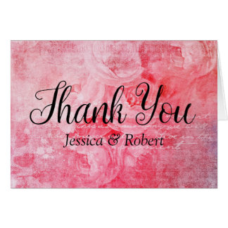 Romantic Pink Old Rose Rustic Thank You card