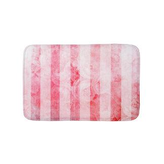 Romantic Pink Old Rose Stripe Pattern Bath Mat