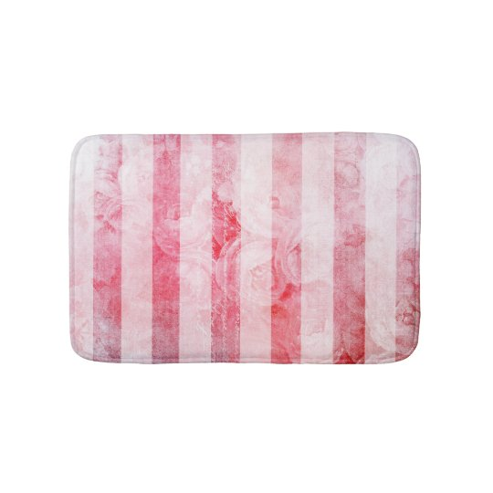 Romantic Pink Old Rose Stripe Pattern Bath Mat