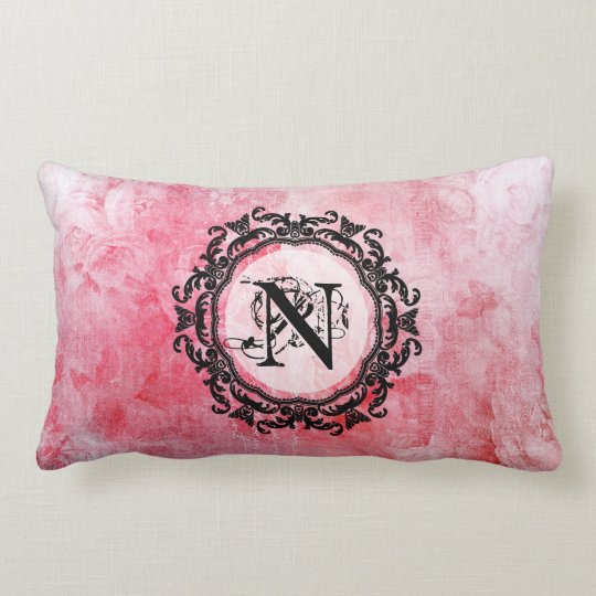 Romantic Pink Old Rose Vintage Letter Lumbar Cushion