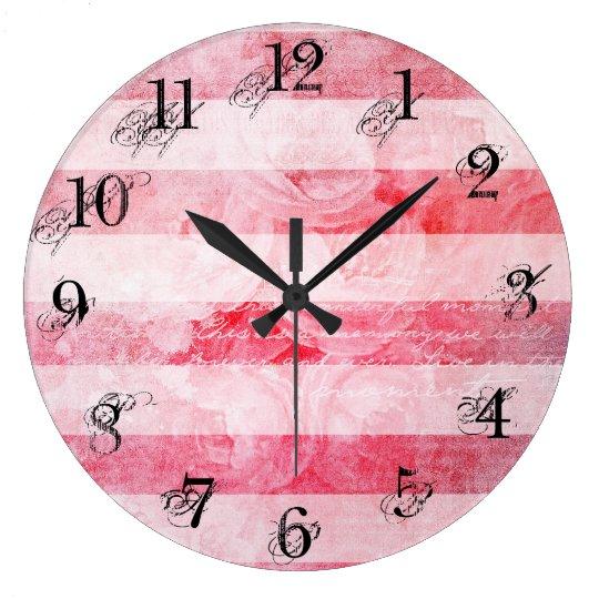 Romantic Pink Old Vintage  Rose Stripe Pattern Large Clock