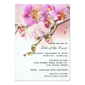 "Romantic Pink Orchids Your Event Invitation 5"" X 7"" Invitation Card"