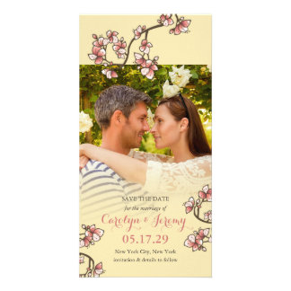 Romantic Pink Peach Blossoms Save The Date Card Photo Cards