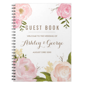 Romantic Pink Peonies Personalized Guest Book