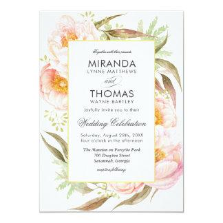 Romantic Pink Peonies Watercolor Floral Wedding Card