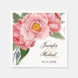 Romantic Pink Peonies Wedding Disposable Serviettes