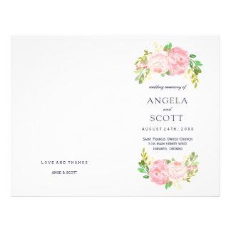 Romantic Pink Peonies Wedding Programs Flyer