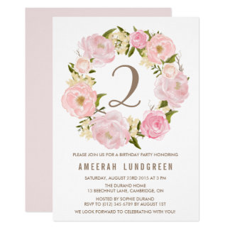 Romantic Pink Peonies Wreath Birthday Party Card