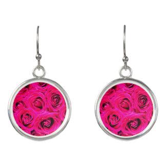 Romantic Pink Purple Roses Earrings