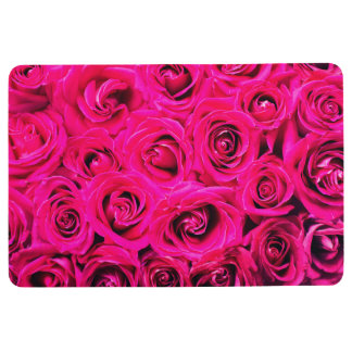 Romantic Pink Purple Roses, Floral, Flowers Floor Mat